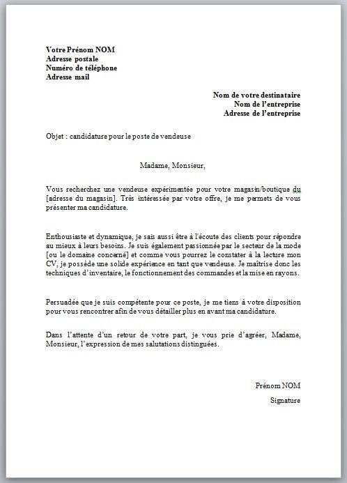 copie lettre de motivation Lettre de motivation pour un poste de vendeuse : modèle et  copie lettre de motivation