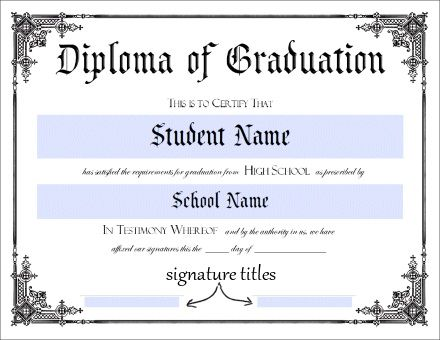Influential image inside printable diploma template