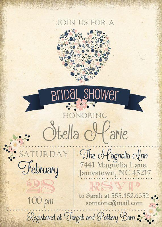 Vintage Blush Pink Navy Blue Floral Bridal Shower Invite, Invitation ...