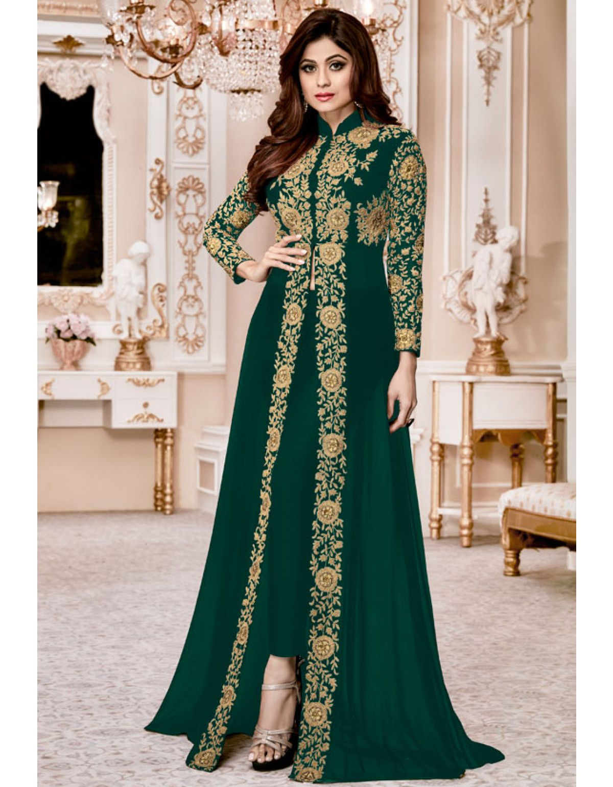 4971b775a9 Shamita Shetty Emerald Green Pant Kameez Designer Salwar Suits, Anarkali  Suits, Suits For Women