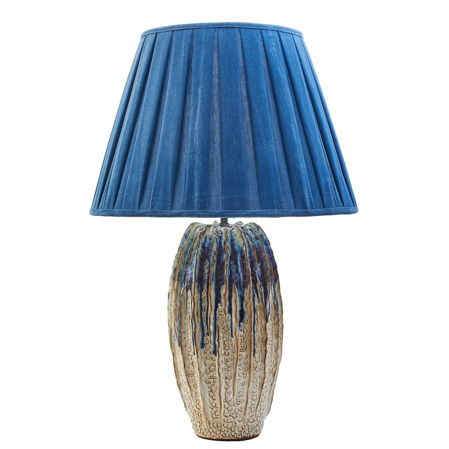 Thai Ribbed Studio Pottery Lamp With Blue And Purple Drip Effect Lamp Pottery Lamp Vintage Table Lamp