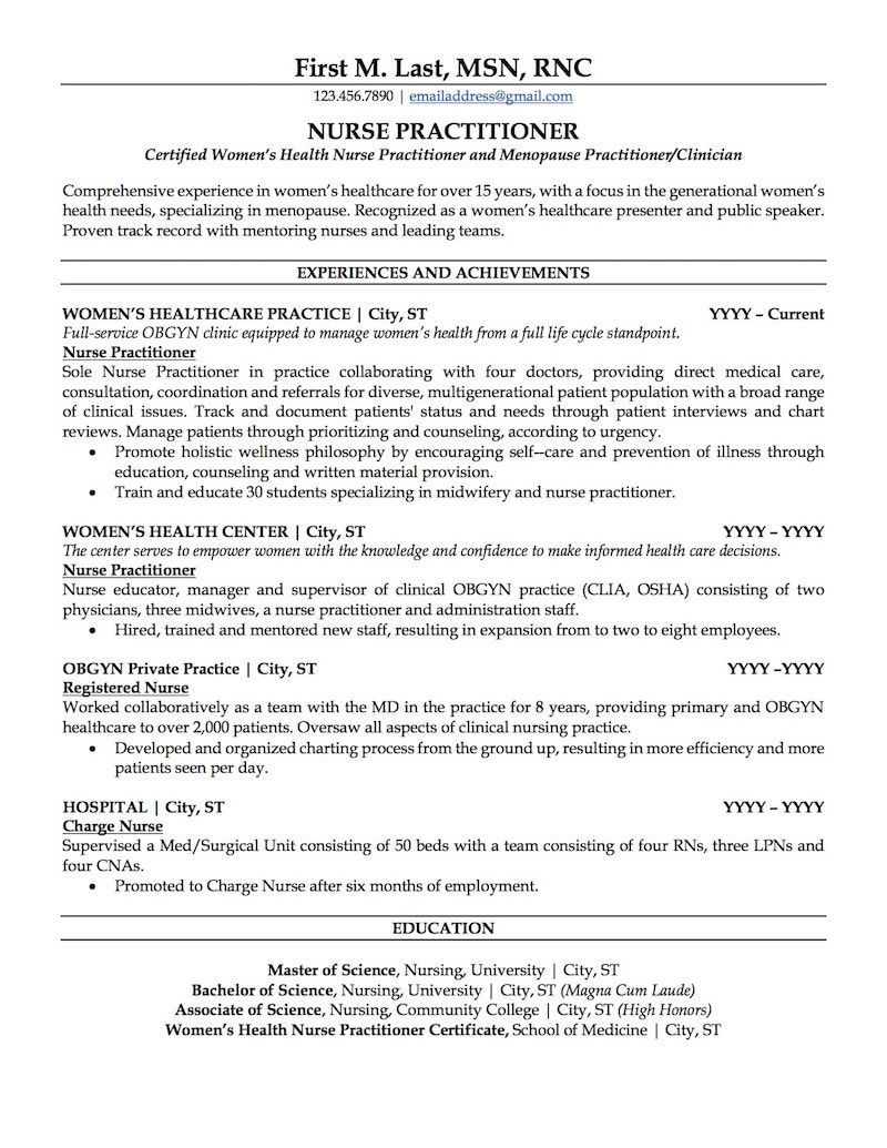 Sample Nurse Practitioner Resume Nurse practitioner