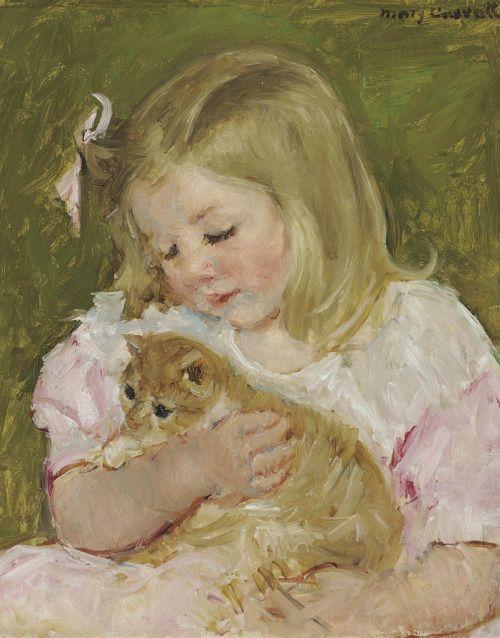 Mary Cassatt (American, 1844 - 1926): Sara holding a cat (via Christie's)