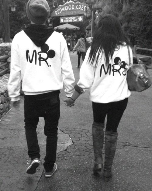 Adorable. Mr and Mrs Mickey Mouse sweatshirts