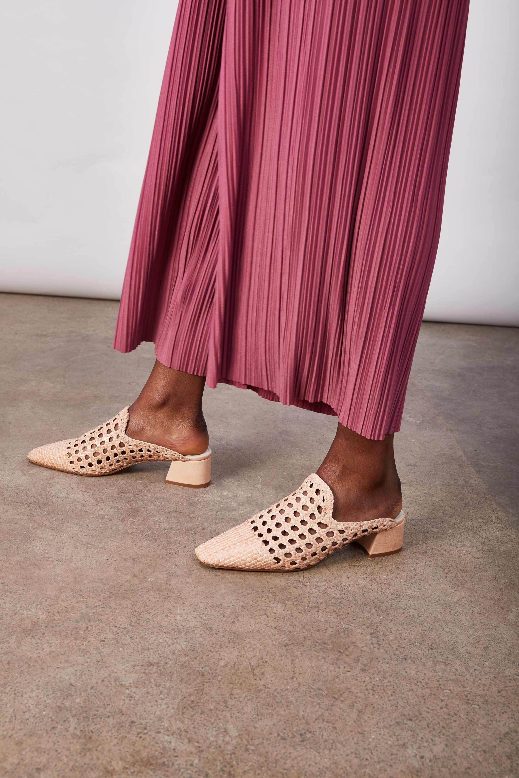 c4294f2a87b Ida Perfume Woven Leather Mules | shoes | Leather mules, Pink mules ...