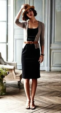 black dress and belted jacket