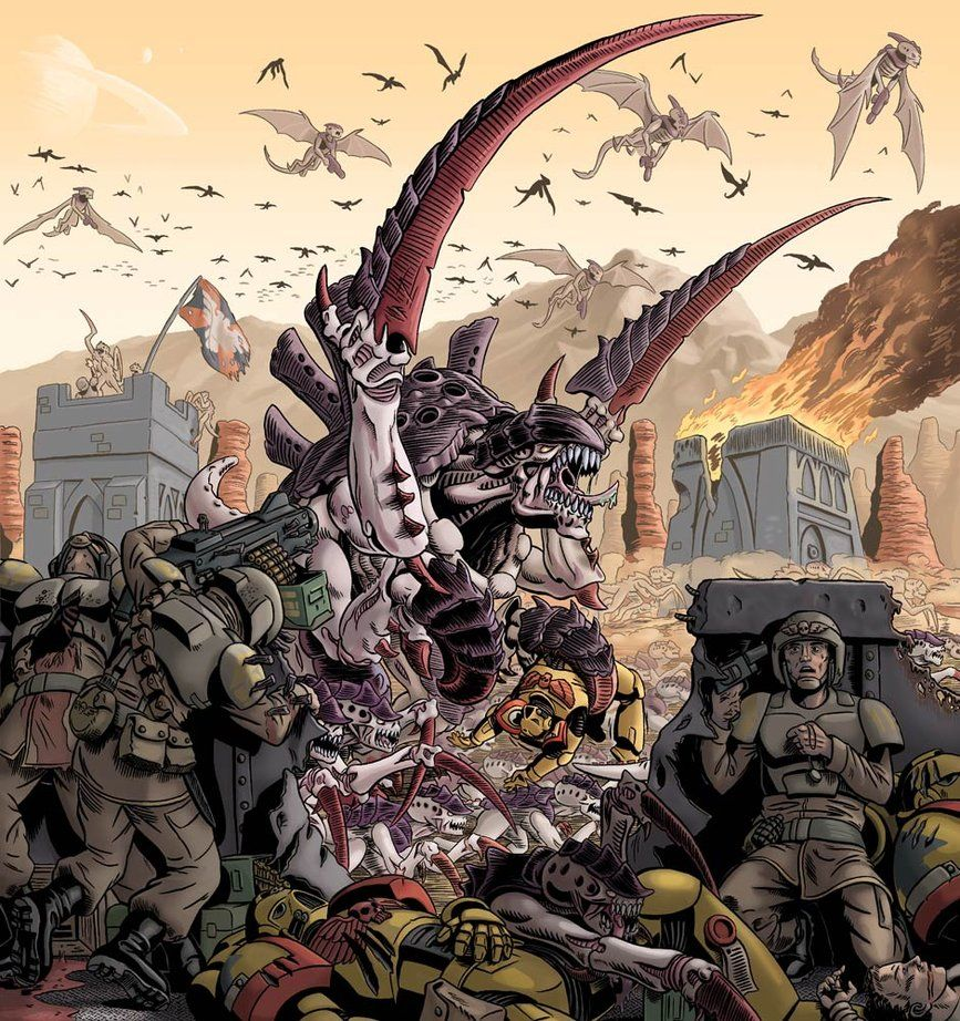 Tyranids vs. Imperial Guard. Massacre at Outpost Zulu35 by discogangsta on deviantART