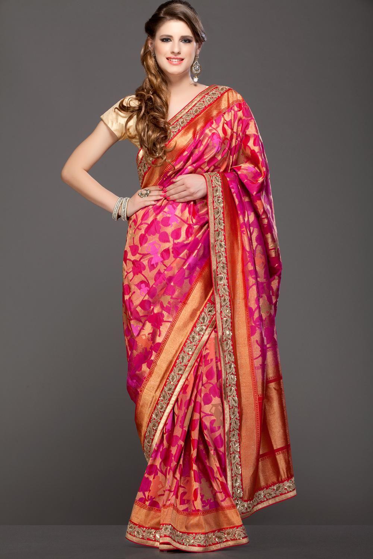 49587186eb141 Rani Pink Gold Zari Banarasi Pure Silk Saree