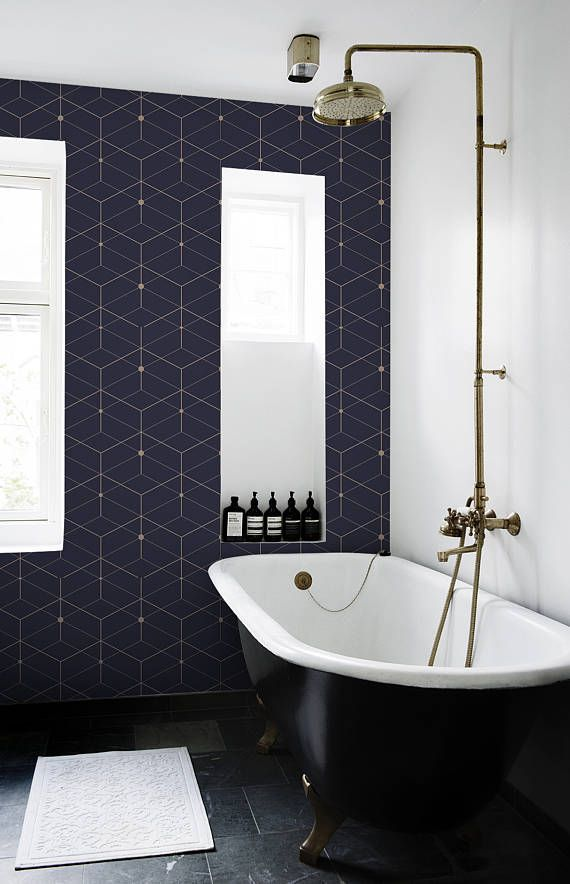 Dark geometry removable Wallpaper traditional white