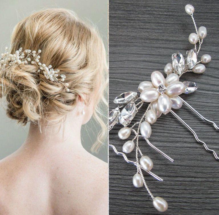 Haarnadel Hochzeit Tiara Diadem Brautschmuck Haarschmuck Spange Blumenmädchen