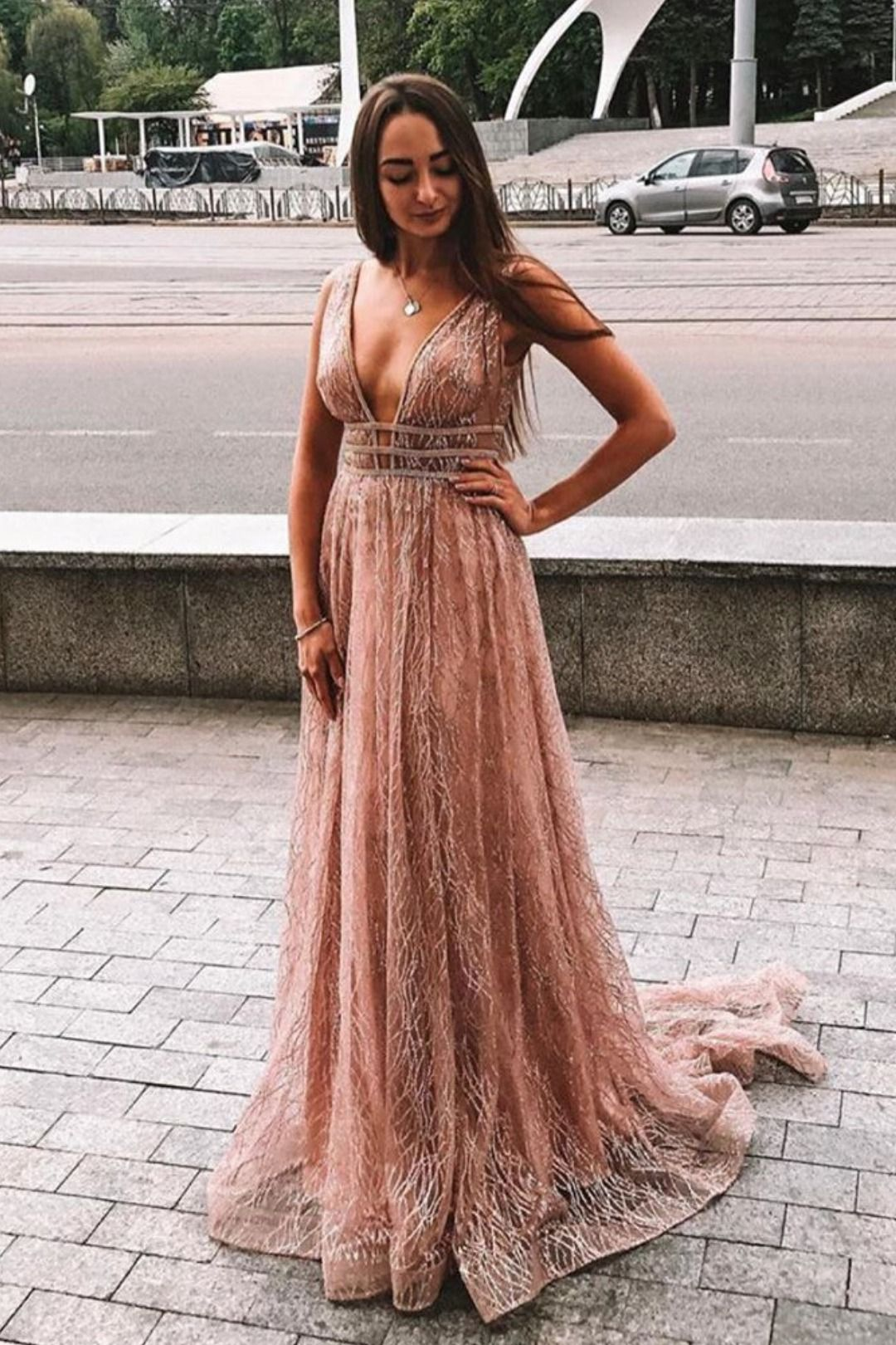 Aline rose gold sequins long prom dress with images