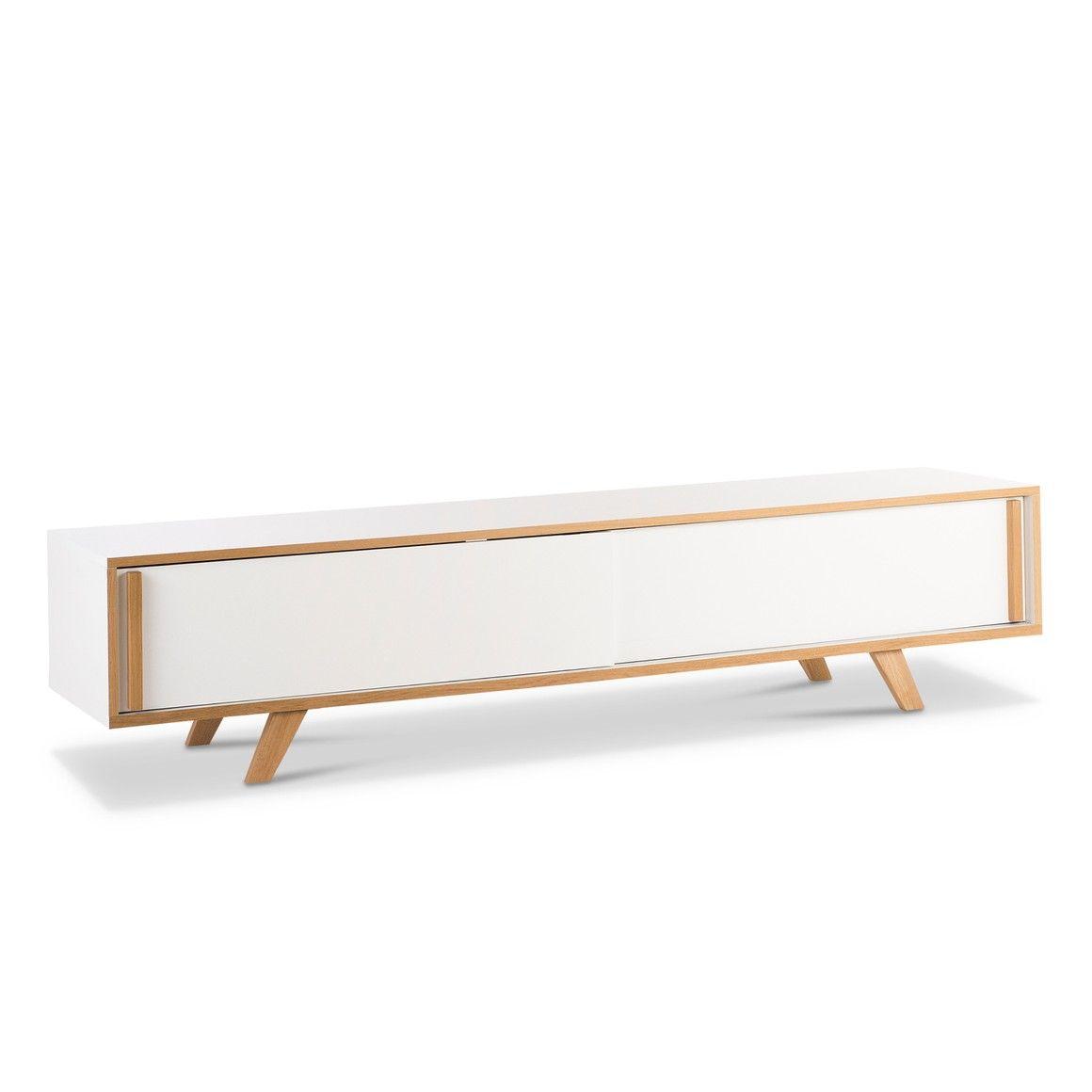 Meuble Tv Blanc Et Chene A Portes Coulissantes Malte Blanc Chene 14134000 0 Tv Mobel Design Online Bestellen