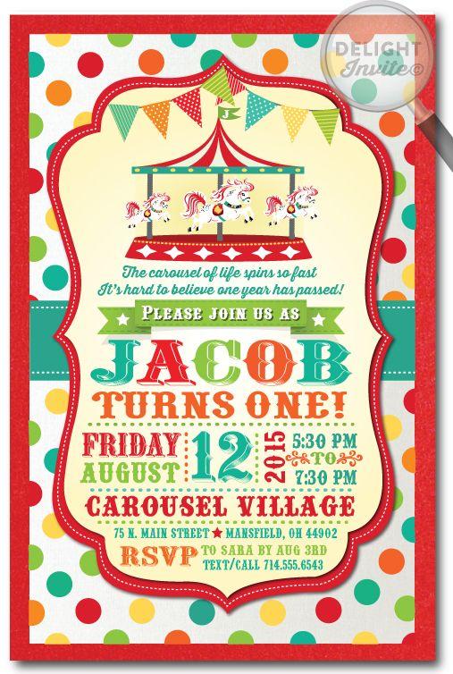 carnival vintage carousel 1st birthday invitations | vintage, Birthday invitations
