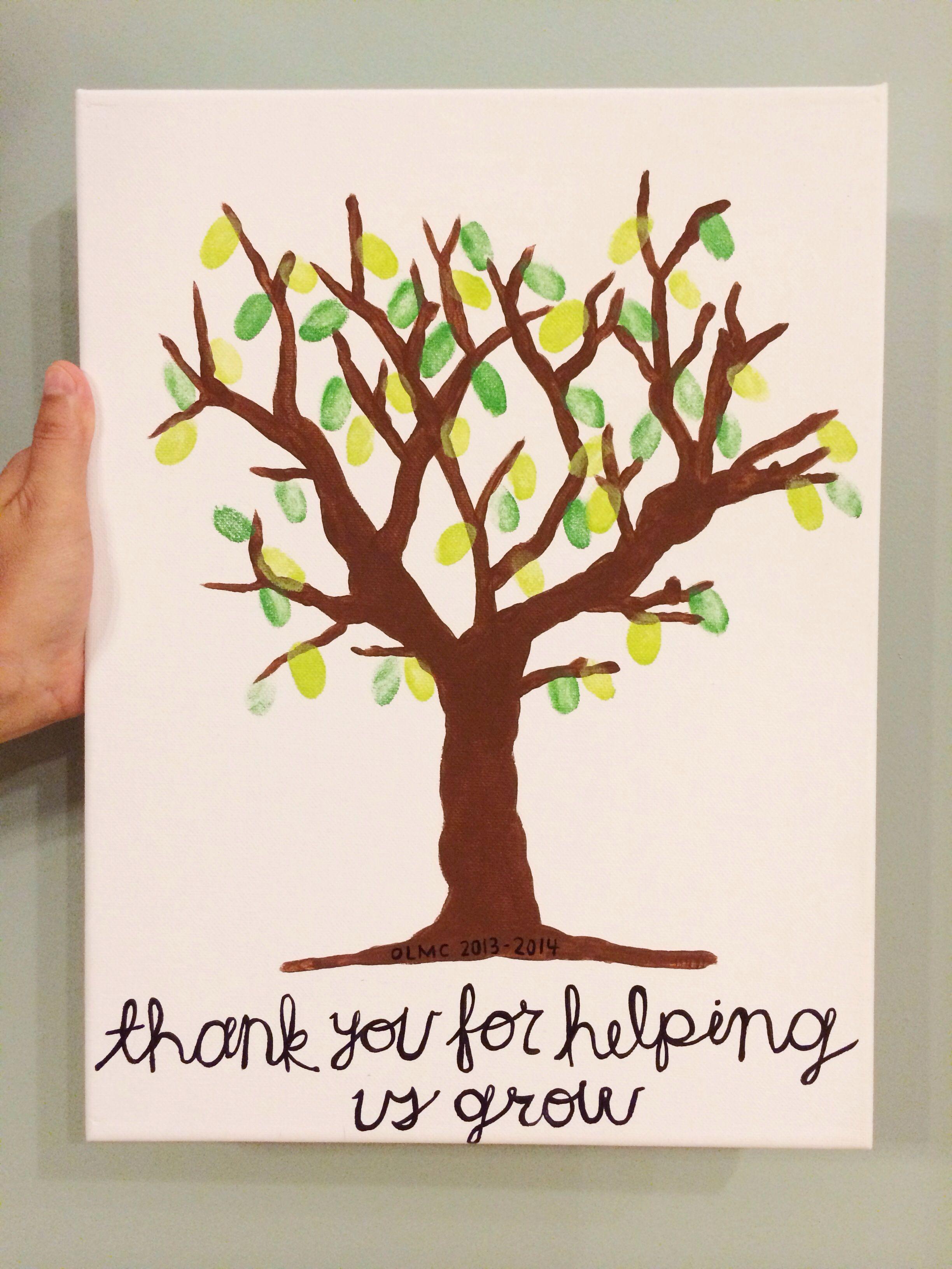 End Of Year Teacher Gift Idea  Fingerprint Tree On