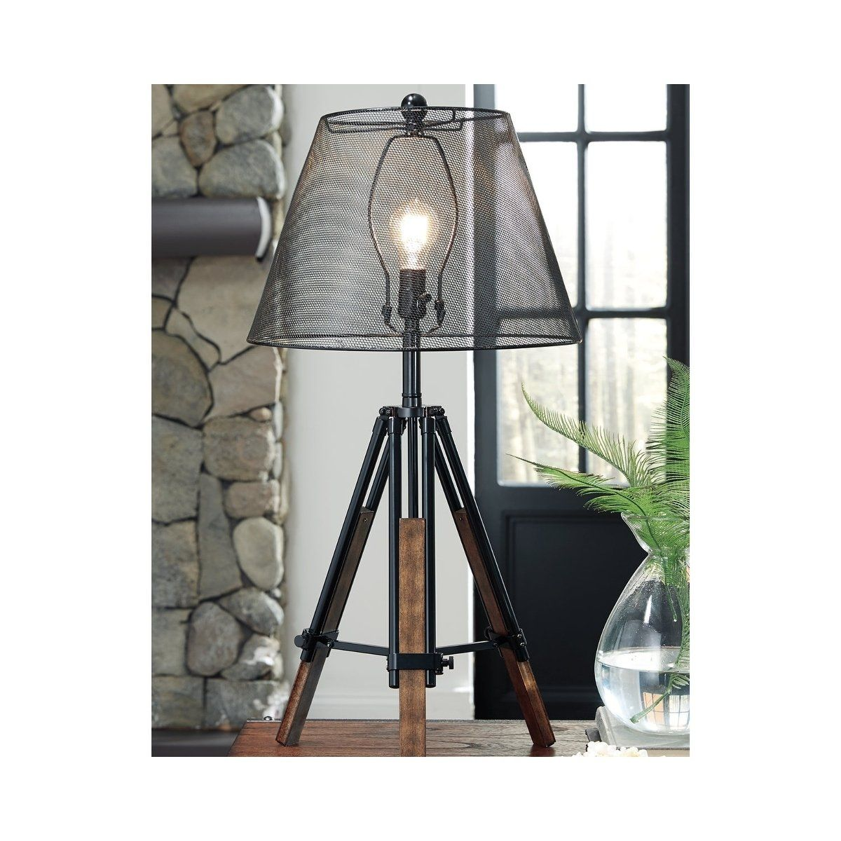 Leolyn Black 37 Inch Table Lamp With Wire Mesh Shade Signature Design By Ashley Black Table Lamps Table Lamp Wood Metal Table Lamps