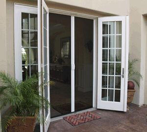 Casper retractable disappearing double french door screens for Double storm doors for french doors
