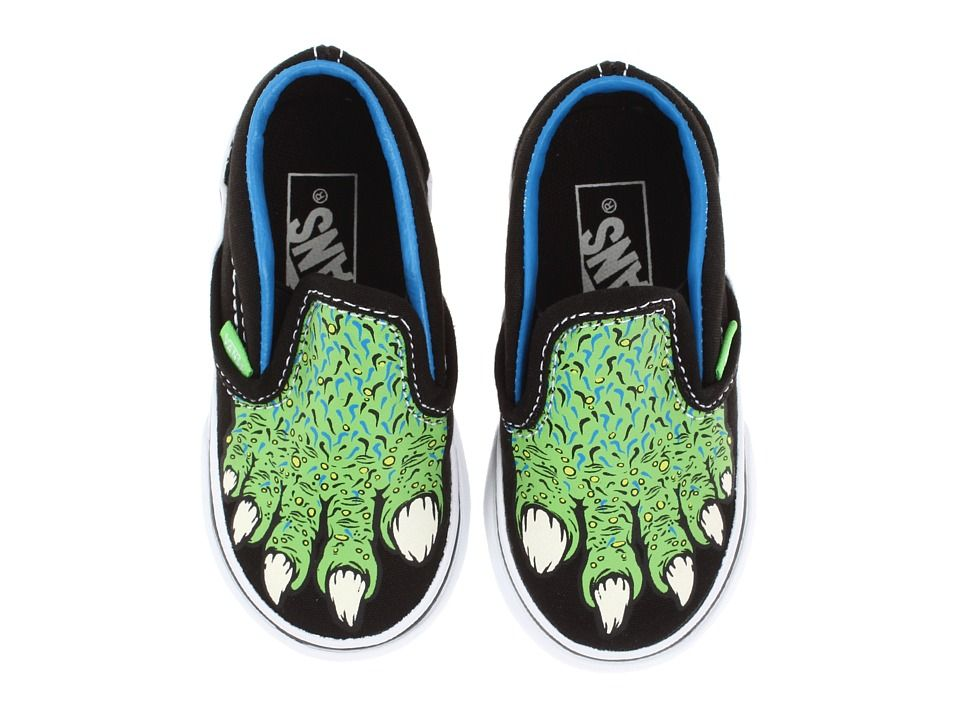 ea876f6e12 Vans Kids Classic Slip-On Glow in the Dark Black Green Flash) Kids Shoes