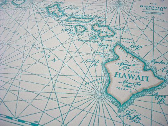 Hawaiian Islands, Letterpress printed Map | Art/Info