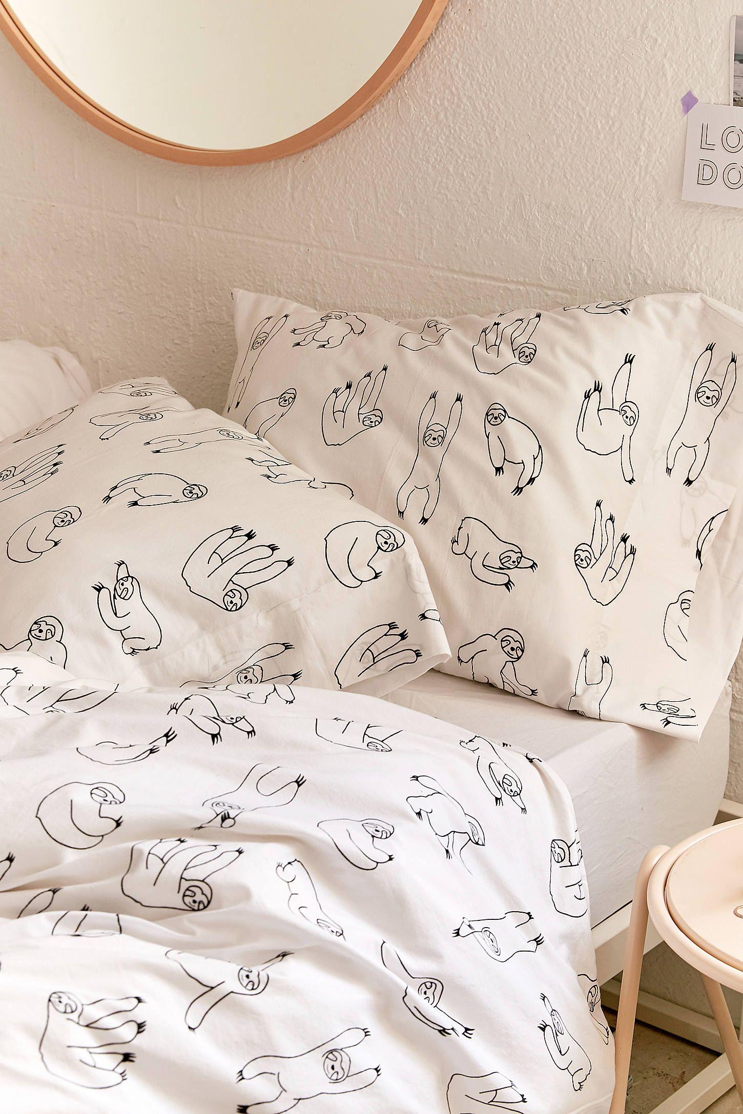 Cute Lilac Sloth Leaf Animal Printed Teen Duvet Cover Quilt Linen Bedding Set