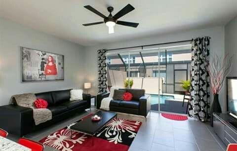 Negro gris blanco y rojo salas pinterest gris rojo for Como decorar una sala gris
