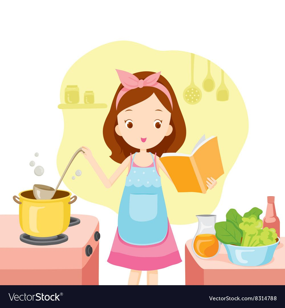 Girl Cooking Soup With Cookbook vector image on ...