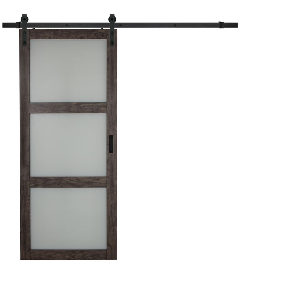 3548 Series Iron Aged Grey 3 Lite Frosted Glass Barn Interior Door (Common
