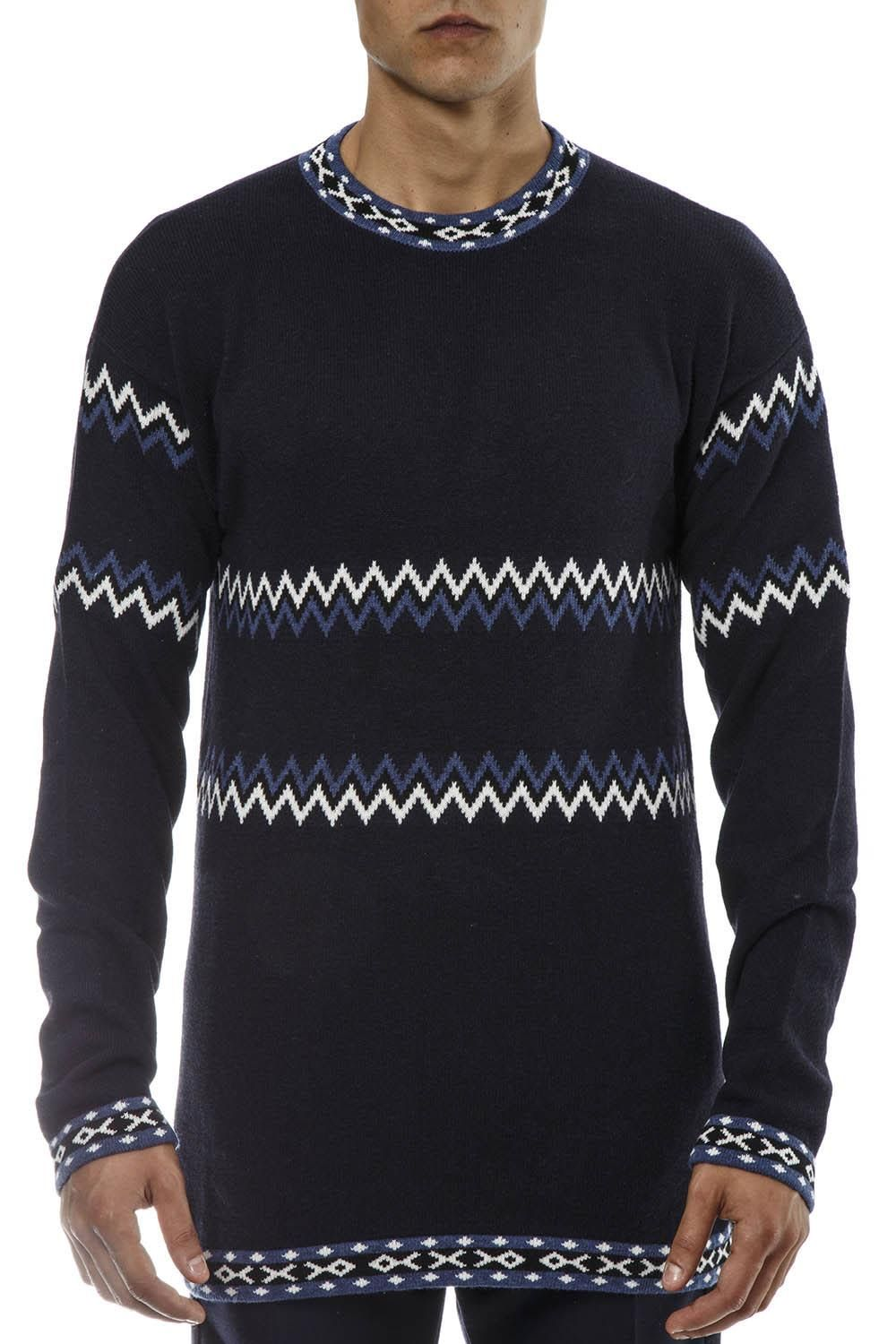 396ba540ca4b4b DIESEL BLACK GOLD NAVY WOOL PULLOVER WITH ETHNIC PATTERN.  dieselblackgold   cloth