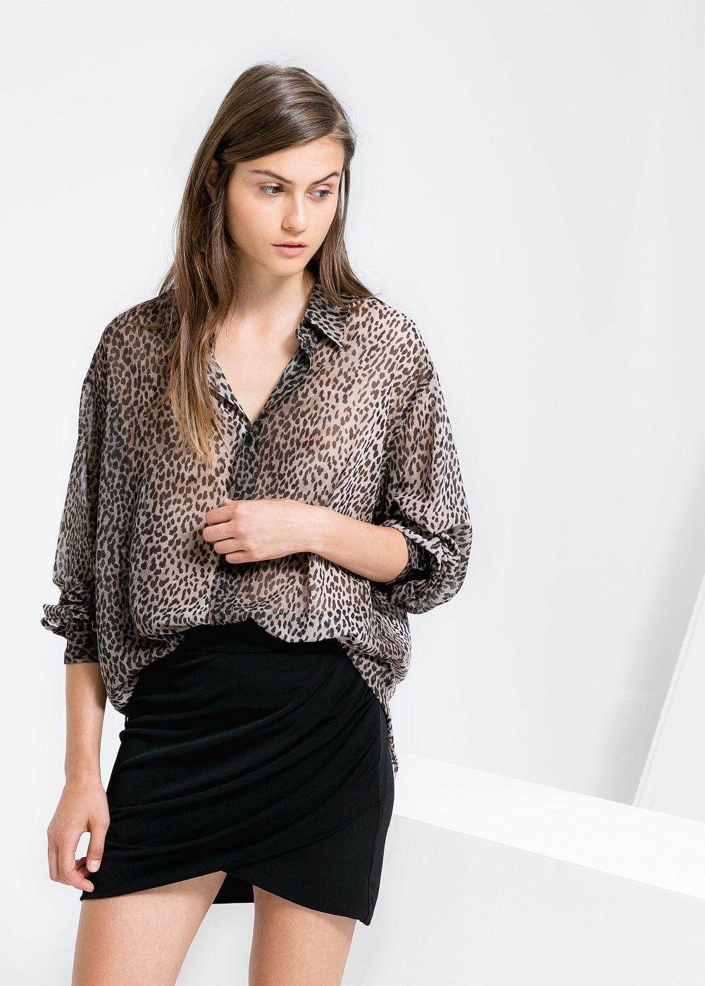 Bluse mit leopardenmuster - Damen   Leopardenmuster, Blusen und ... 8f457d7615