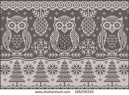Knitted pattern with owls. Vector creative illustration with ...
