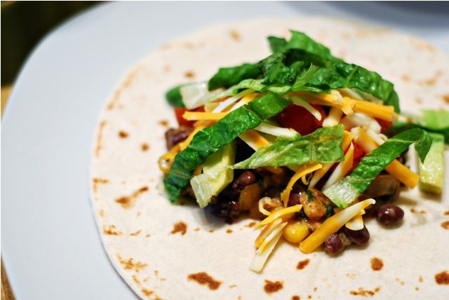 black bean tacos with chili lime cream