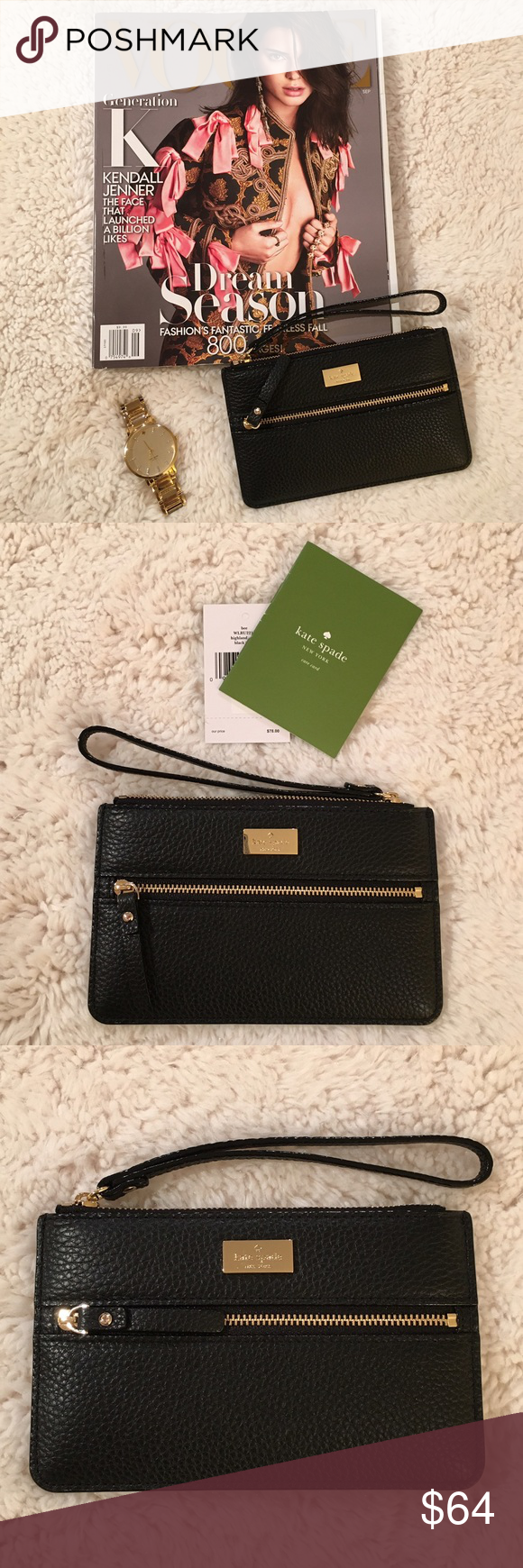 """Kate Spade Wristlet The perfect holiday gift...a chic Kate Spade Wristlet. This wristlet has a top zipper and a front zipper with pocket. The dimensions are 7""""L x 4""""W. The color is black and the interior lining is black. The fabric is a pebbled looking leather. Can fit most phones, money, keys and credit cards. New and never used. kate spade Bags Clutches & Wristlets"""