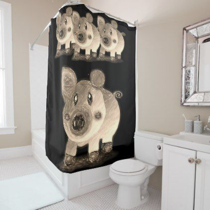 Pig Shower Curtain Zazzle Com Curtains Bathroom Accessories