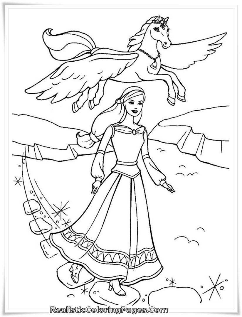 Barbie Rapunzel Ausmalbilder : Barbie Coloring Page Barbie And Magic Pegasus Barbie World