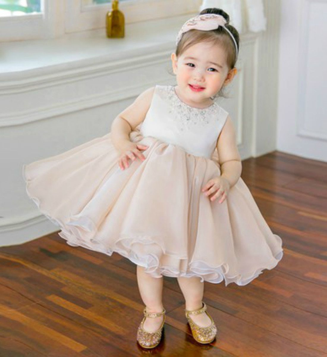 Crystal u beaded applique dress pink flower girl dresses chart