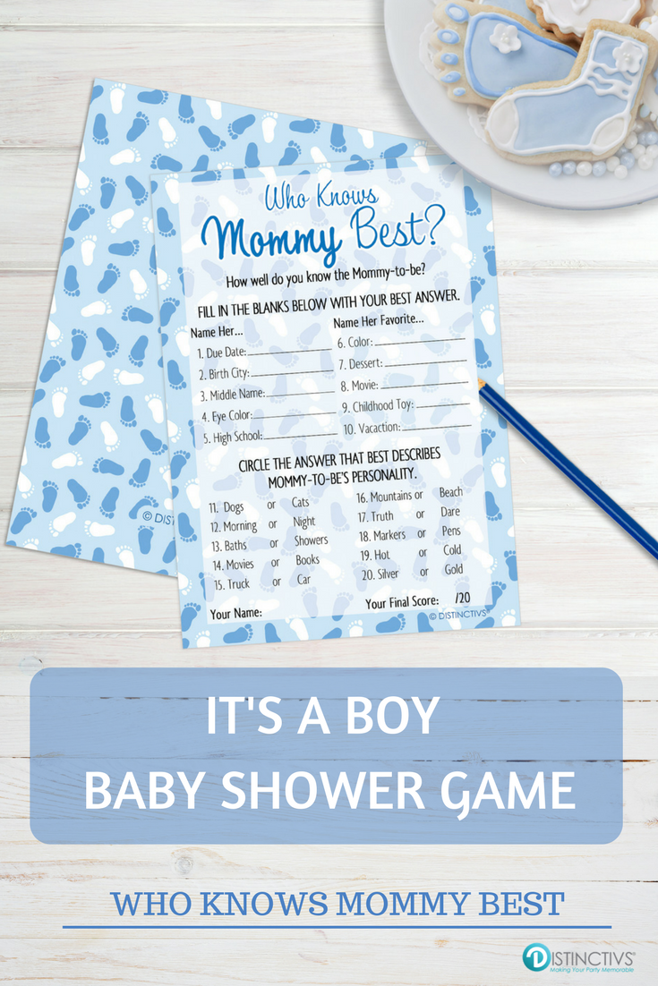 Its A Boy Who Knows Mommy Best Baby Shower Game Cards 20 Count