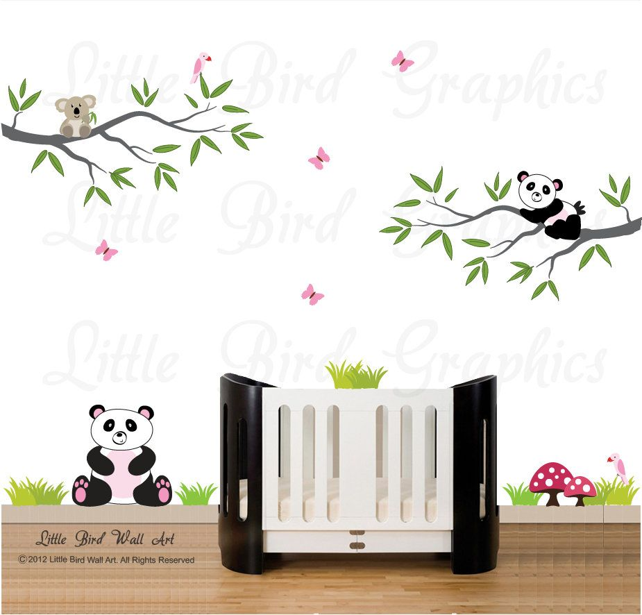 Girls panda wall decal branches nursery decals koala birds butterfly