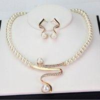 Wish | Women Pearl Rhinestone Necklace Earrings Bridal Wedding Party Gift Jewelry Set