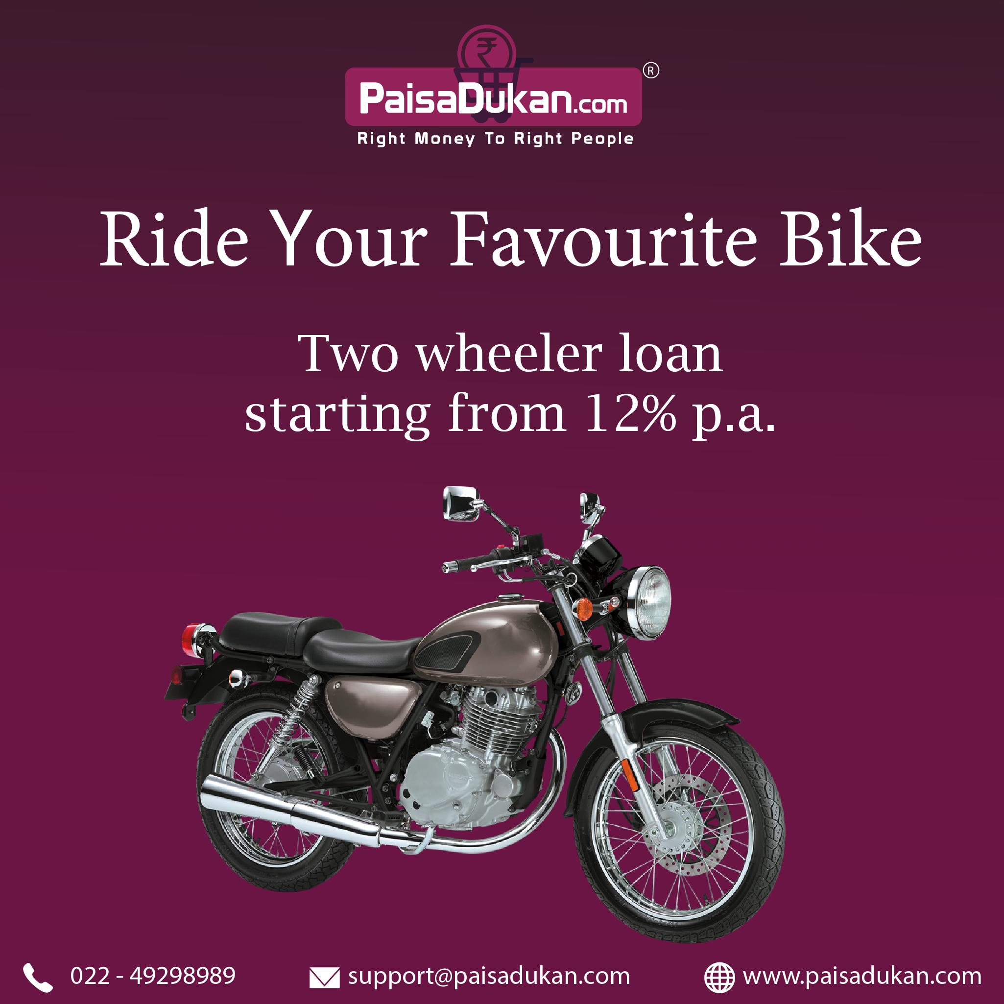 Get Bike Loan Starting From 12 P A At Paisadukan Bikeloan