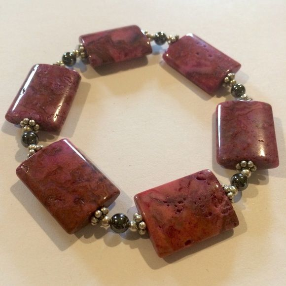 Gemstone Bracelet Gemstone Bracelet Large Rectangle Pink Gemstone Beads With Silver and Hematite Spacers - Elastic Material - Approx Size 7-7.5in - Handmade By Me Handmade Jewelry Bracelets