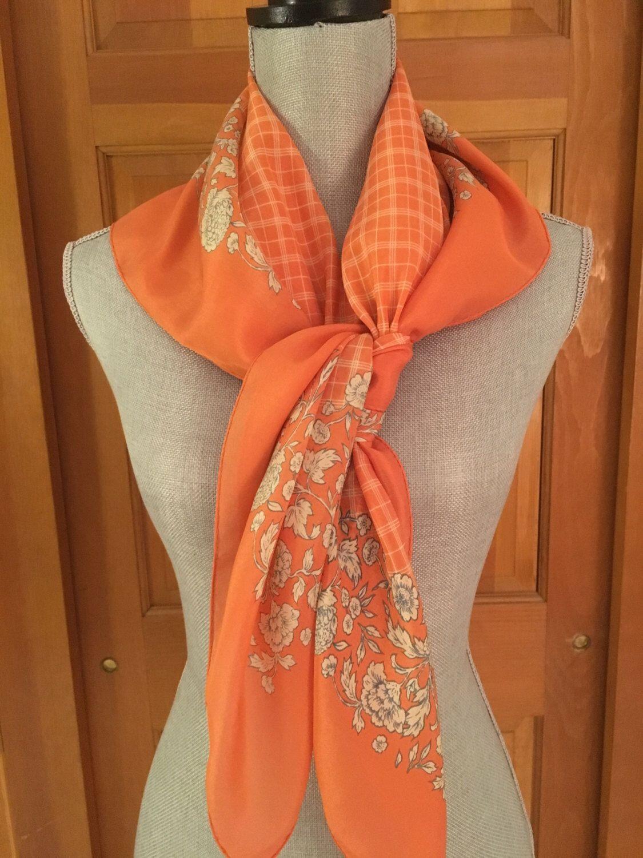 b402624df2 Vintage Orange Silk Scarf, CACHAREL Silk Scarf, Windowpane Scarf, Floral  Border Silk Scarf
