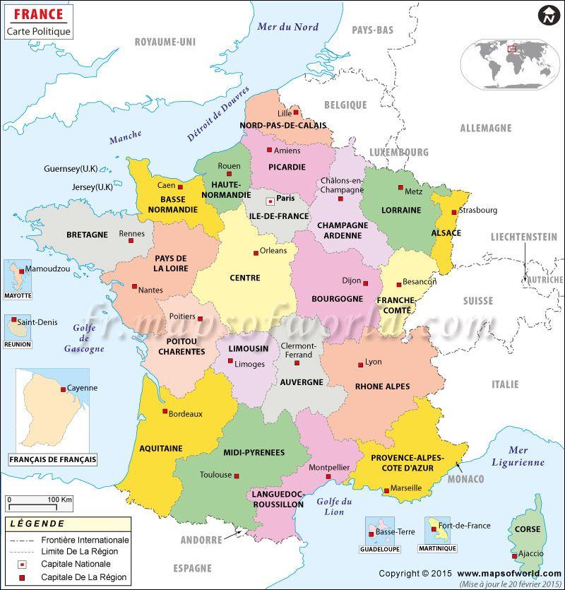 Carte De France Montrant Capitale De La France France Regions