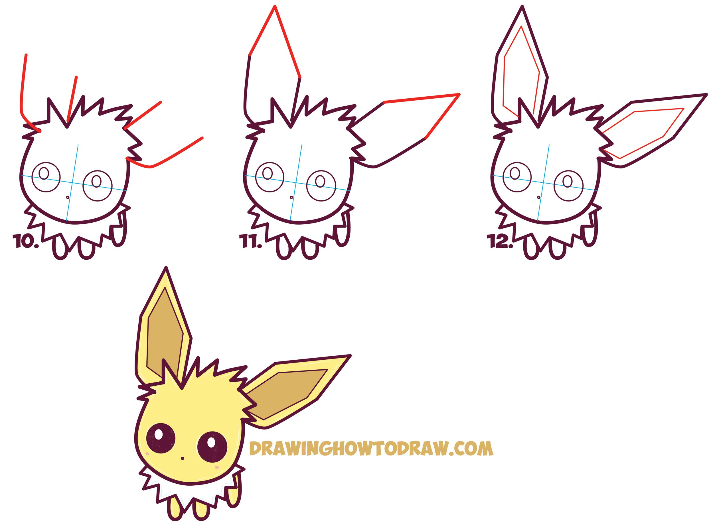Uncategorized Pokemon That Are Easy To Draw learn how to draw cute kawaii chibi jolteon from pokemon simple steps drawing lesson