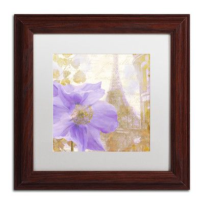 "Trademark Art 'Purple Paris II' Framed Graphic Art Size: 11"" H x 11"" W x 0.5"" D, Mat Color: White"
