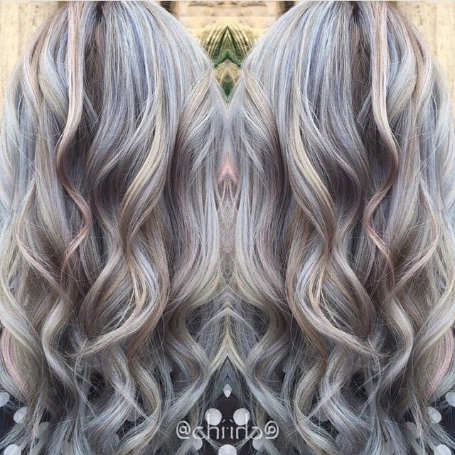 Blue And Ash Blonde Hair Color With Mermaid Waves Blue Hair Color