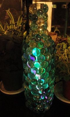 Craft, Home and Garden Ideas - Glowing Glass Bead Wine Bottle ...
