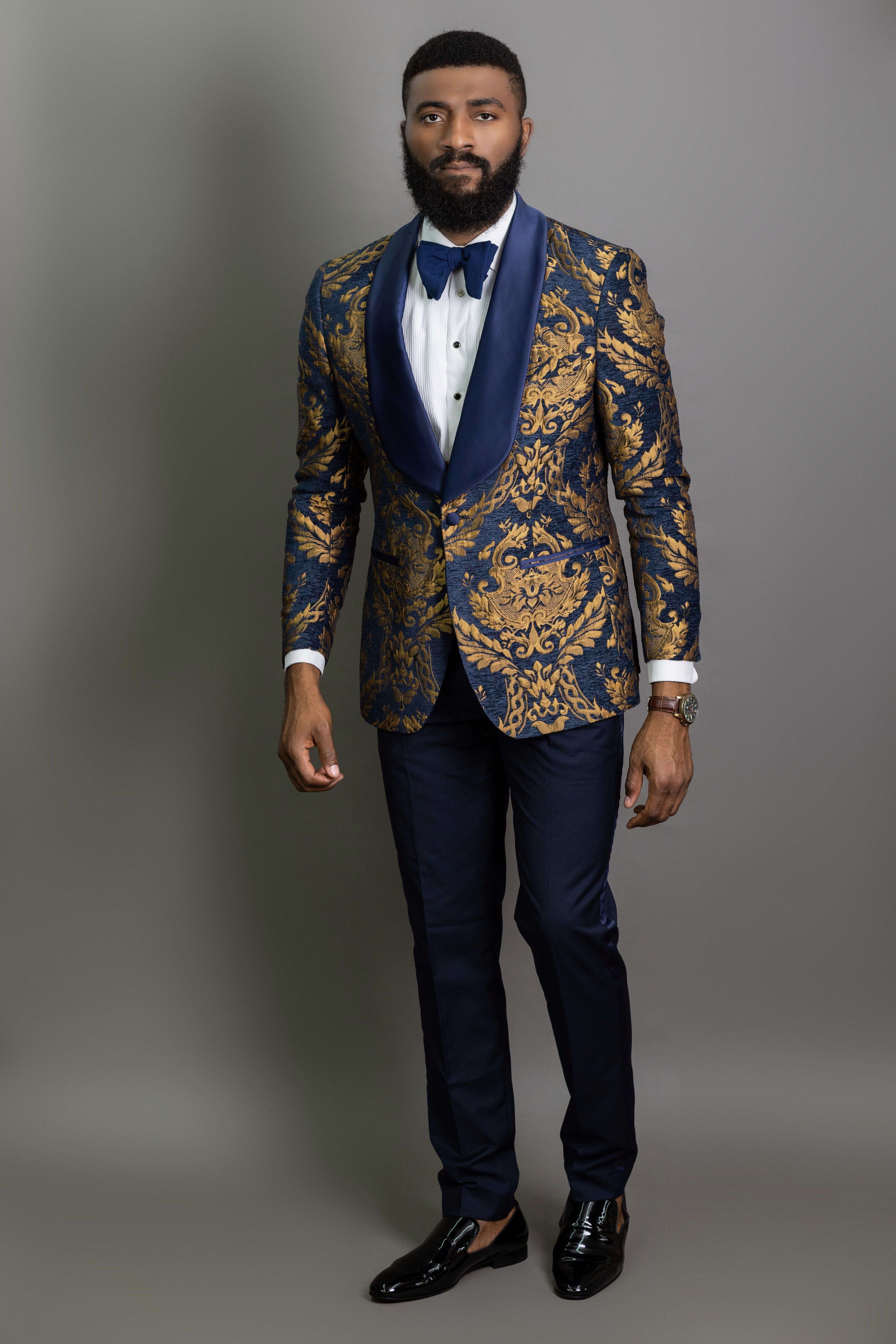 The Caldwell Brocade with Navy and Gold Tuxedo Navy prom