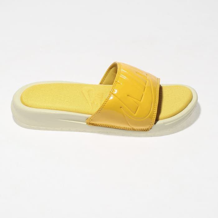 0ed15a1696 womens yellow nike benassi ultra lux slide sandals
