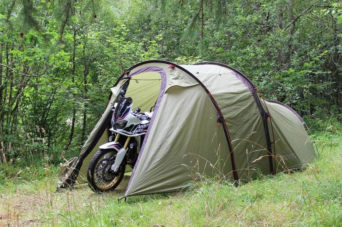 Redverz Atacama Motorcycle Tent in forest. & Redverz Atacama Expedition Motorcycle Tent Green | Motorcycle Travel ...