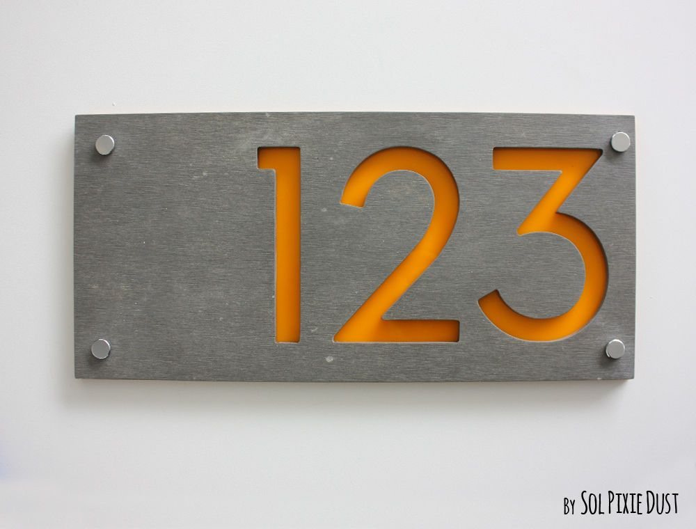 Modern House Numbers Concrete Yellow Acrylic Sign Plaque