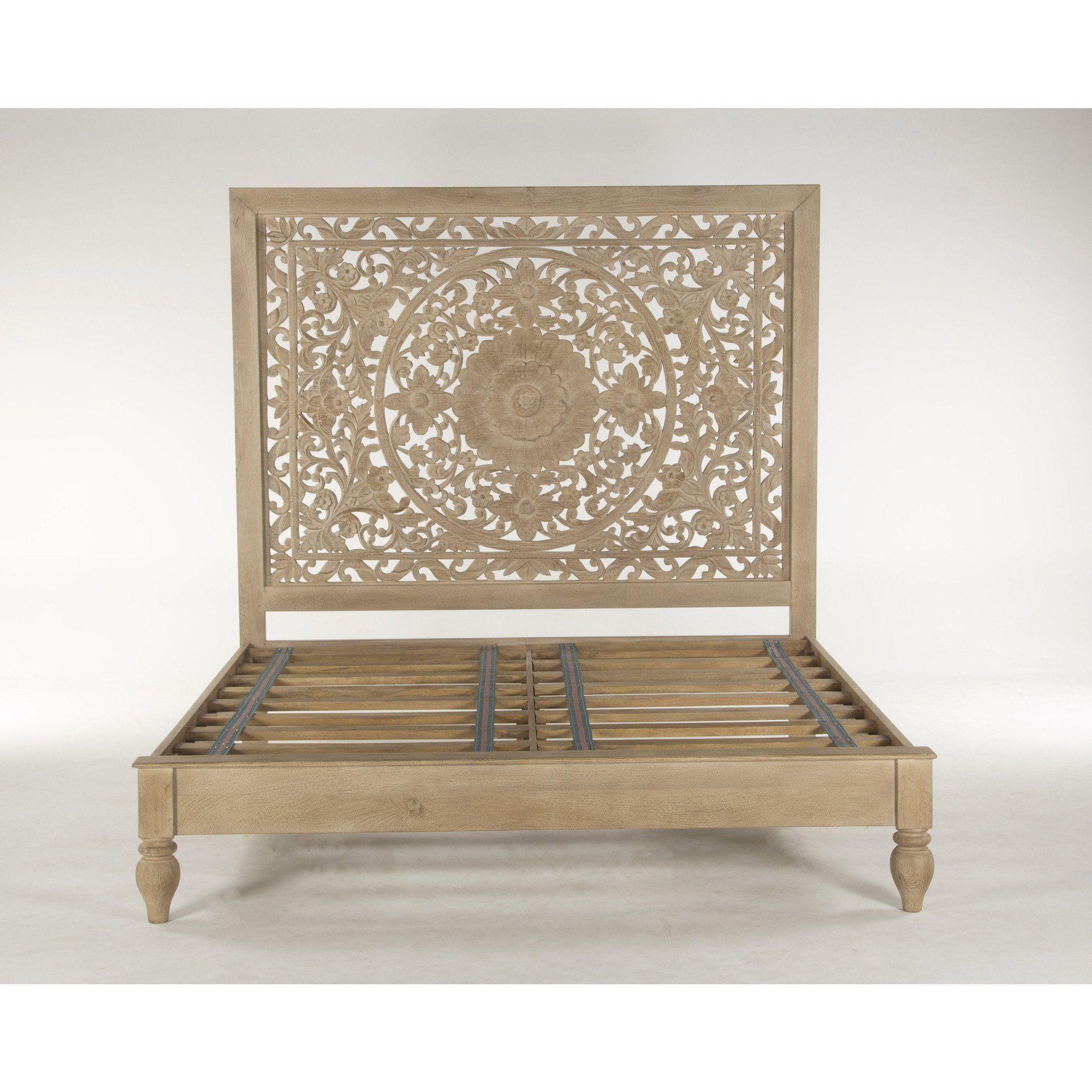 Mecca Mandala Carved Mango Wood Boho Bed Carved Headboard Wooden Bed Design Wood Headboard
